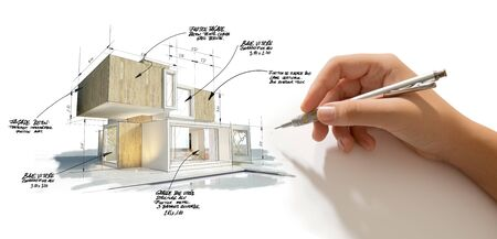 3D rendering of a modern cubic house with a hand writing notes, measurements and indications