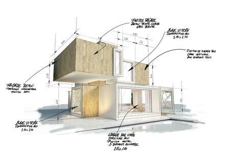 Rendu 3D d'une maison cubique moderne avec notes, mesures et indications