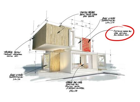 3D rendering of a modern cubic house with notes, measurements and indications