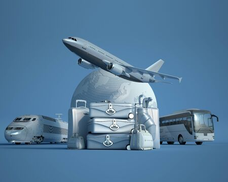 3D rendering of the Earth, a flying plane, a train and a coach with a pile of luggage