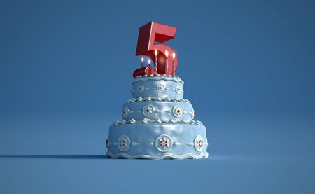 3D rendering of a big blue birthday cake with a big number five on top Banque d'images