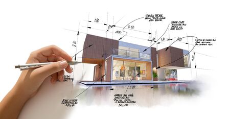 3D rendering of a modern  high end architecture project with a hand sketching and drafting