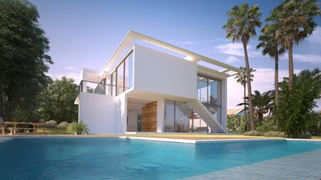 3D rendering of a modern villa with pool in an exotic garden Stock Photo