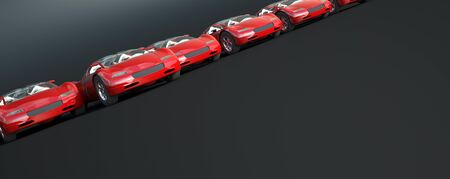 3D rendering of a group of convertible red sports cars racing
