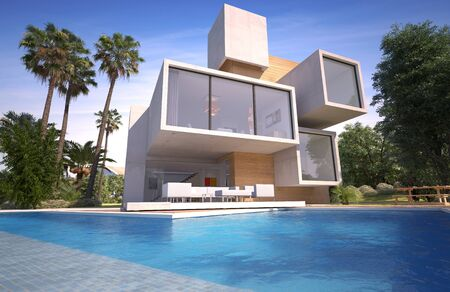 3D rendering of a Wood and stone luxury villa with pool and exotic garden