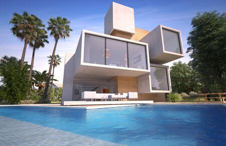 Rendu 3D d'une villa de luxe en bois et pierre avec piscine et jardin exotique