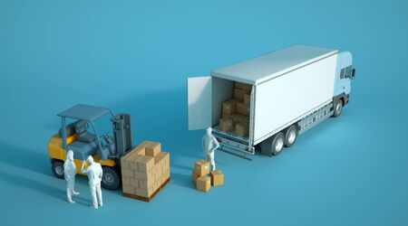 3D rendering a  forklift loading boxes in a truck with anoymous workers