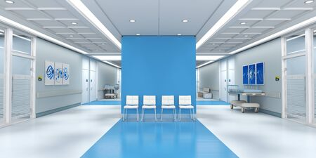 3D rendering of a hospital interior with lots of copy space Banque d'images