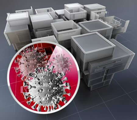 3D rendering of a building plan with a magnified zone showing coronavirus Archivio Fotografico