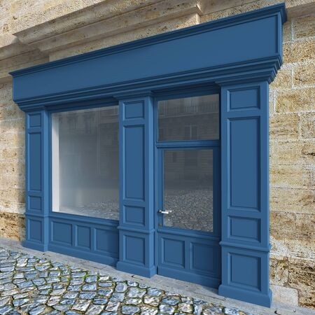 3D rendering of a traditional storefront façade with blue wood.