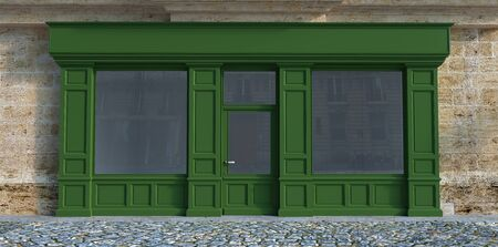 3D rendering of a traditional storefront façade with green wood.