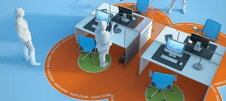 3D rendering of an office interior with social distancing safety measures