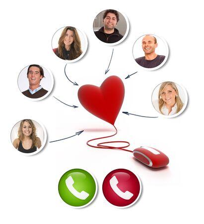 コンピュータマウスに接続された心臓を持つビデオ通話の若者のグループ