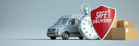 3D rendering of a truck, a stop watch with a pile of packages and a shield with the words safe delivery