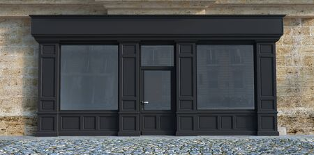 3D rendering of a traditional storefront façade with dark gray wood.