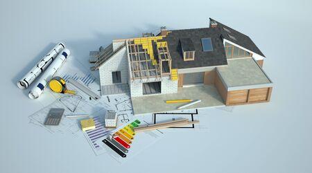Representación 3D de una casa sometida a renovaciones de amplificación con un gráfico de energía, planos y otros documentos