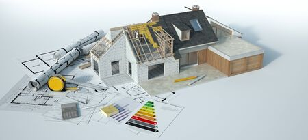 3D rendering of a house undergoing amplifying renovations with an energy chart, blueprints and other documents Imagens