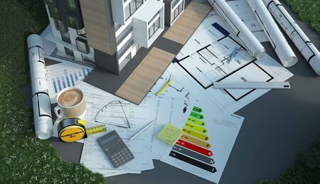 3D rendering of a house with blueprints, energy charts and other documents in a field Banque d'images