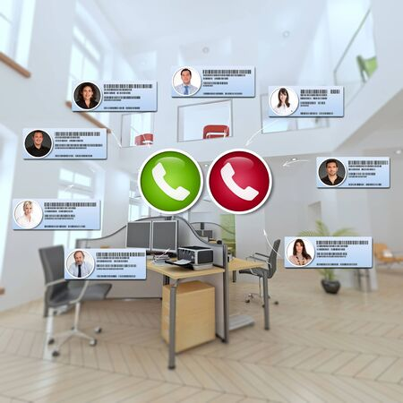 Group of business people having a virtual meeting in a modern office Standard-Bild