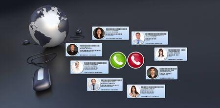 Group of business people having an international virtual meeting