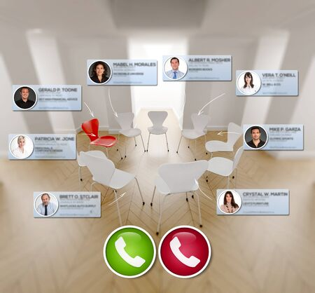 3D rendering of a circle of chairs with icons of people connecting for a conference call
