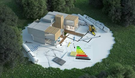 3D rendering of a designers house with blueprints, energy chart and other documents in the construction site Фото со стока