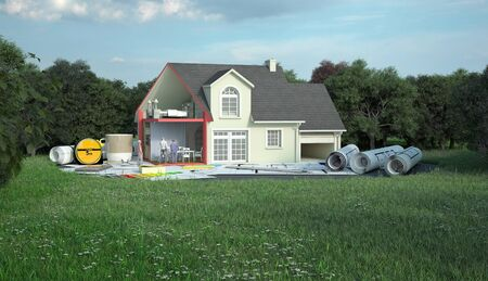 3D rendering of a classic house with blueprints, energy charts and other documents in a field