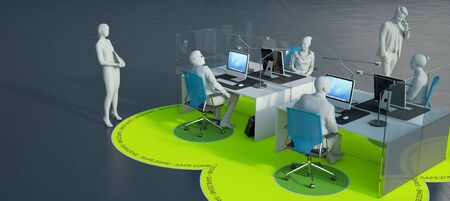 3D rendering of an office interior with social distancing safety measures Standard-Bild
