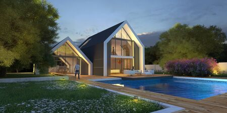 3D rendering of a bright modern pitched roof villa with pool