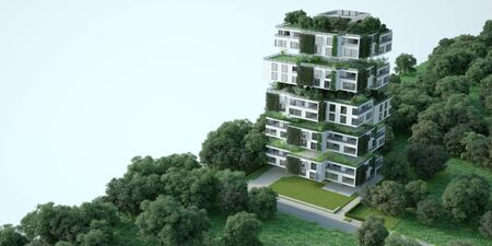 3D rendering of a sustainable modern apartment building  with blueprints