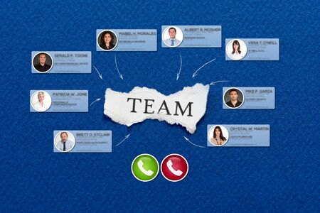 The word team in a scrap of paper surrounded by contacts in a video conference call
