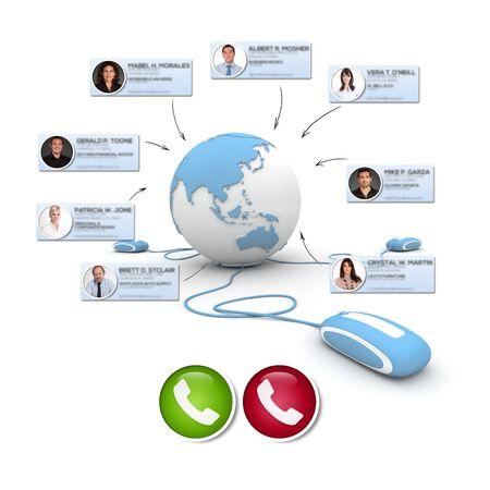3D rendering of an international online meeting