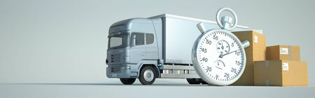 3D rendering of a truck,  lots of packages and a stopwatch