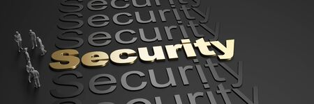 3D rendering of the word security in golden letters against a black background with business people Standard-Bild