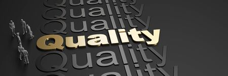 3D rendering of the word quality in golden letters against a black background with business people Standard-Bild