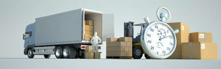 3D rendering of a truck, a van, a forklift, lots of packages, workers and a stopwatch Standard-Bild