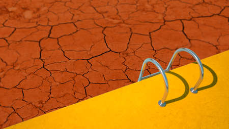 3D rendering of a pool with cracked soil instead of water