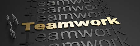 3D rendering of the word teamwork in golden letters against a black background with business people Standard-Bild