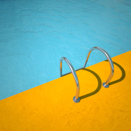 3D rendrering of a classical pool in blue and yellow Standard-Bild