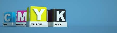 3D rendering of printing colors cyan, magenta, yellow and black