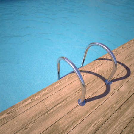 3D rendrering of a swimming pool in blue and teak wood