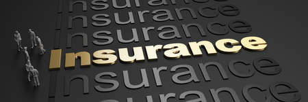 3D rendering of the word insurance in golden letters against a black background with business people