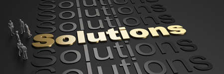 3D rendering of the word solutions in golden letters against a black background with business people