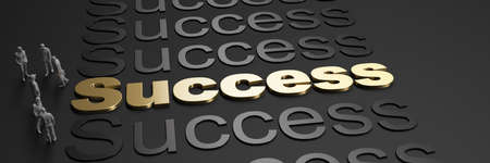 3D rendering of the word success in golden letters against a black background with business people Standard-Bild