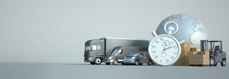 3D rendering of the world, packages and transportation vehicles with a chronometer Standard-Bild