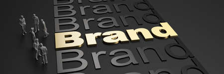 3D rendering of the word brand in golden letters against a black background with business people