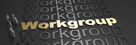 3D rendering of the word workgroup in golden letters against a black background with business people