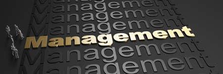 3D rendering of the word management in golden letters against a black background with business people