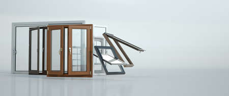 3D rendering of a selection of windows of different types and styles Stock fotó