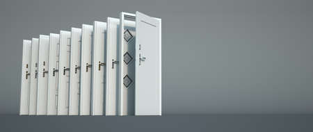 3D rendering of a white door collection in different styles